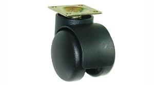 """גלגל כפול עם פלטה בקוטר 50 ממ,עומס 25 ק""""ג"""