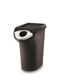 פח פלסטיק שחור פתוח צר מחזור 22 ל'