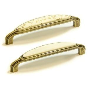 "WM55 ידית 128 מ""מ פורצלן קישוט זהב עלים-ברונזה עתיק"