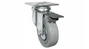 גלגל עם פלטה ומעצור אפור