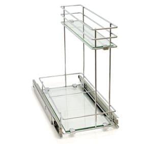 עגלת בקבוקים משטח זכוכית 2 קומות דו-צדדי מתחת לכיור ניקל