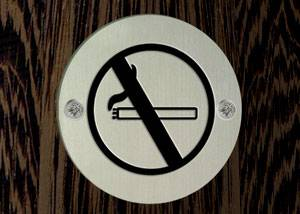 "SP012 שלט ""אסור לעשן"" קוטר 75 מ""מ נירוסטה מט"