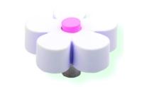 כפתור פרח לבן - ורוד